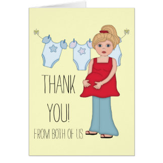 Blonde Pregnant Mom Boy Baby Shower Thank You Card