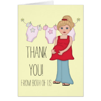 Blonde Pregnant Mom Girl Baby Shower Thank You Note Card