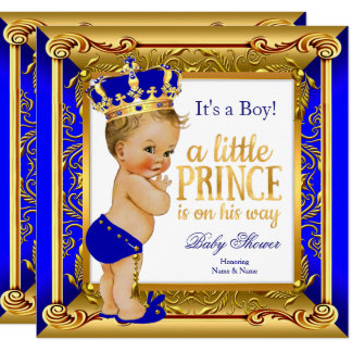 """Blonde Prince Baby Shower Blue Faux Gold 5.25"""" Square Invitation Card"""