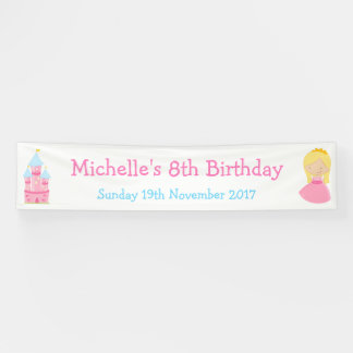 Blonde Princess and Dragon Birthday Party Banner