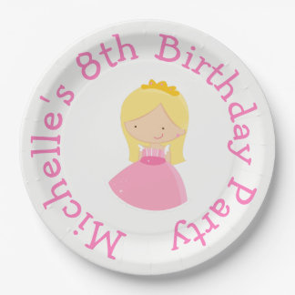 Blonde Princess and Dragon Birthday Party Paper Plate