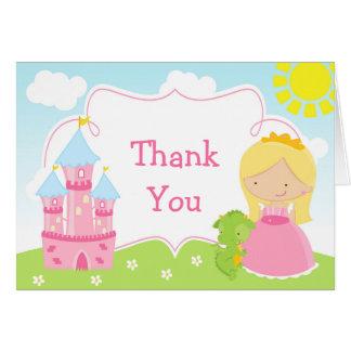 Blonde Princess and Dragon Thank You Card