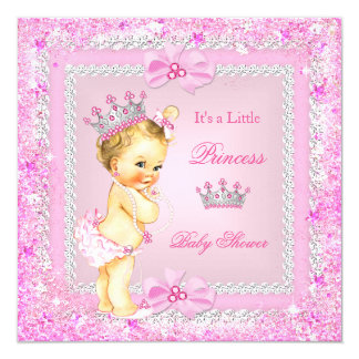 Blonde Princess Baby Shower Pink Glitter Tiara Card