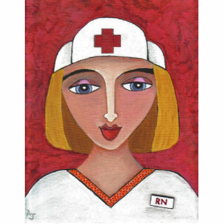 Blonde RN - folk art nurse Christmas ornament Photo Sculpture Ornament
