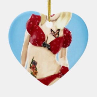 Blonde Rockabilly girl Ceramic Heart Ornament