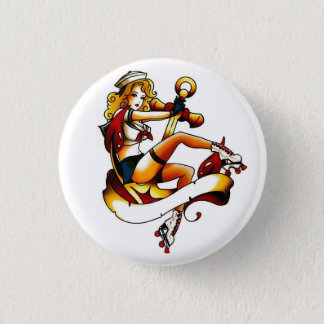 Blonde Roller Girl Sailor 1 Inch Round Button