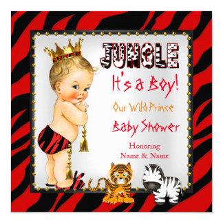 Blonde rouge de prince baby shower sauvage de carton d'invitation  13,33 cm
