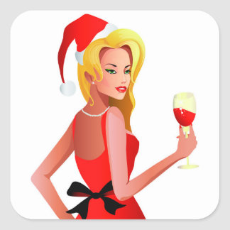 Blonde Santa Girl Square Sticker