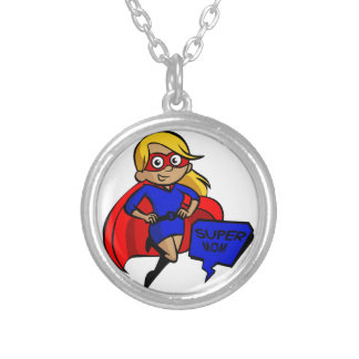 blonde super mom silver plated necklace