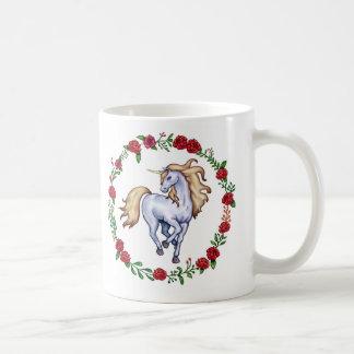 Blonde unicorn encircled in roses. coffee mug