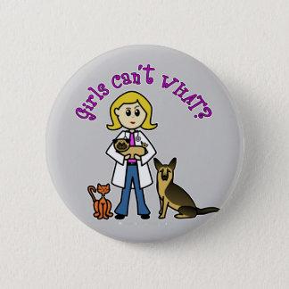 Blonde Veterinarian Girl 2 Inch Round Button