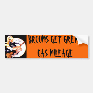BLONDE WITCH, BROOMS GET GREAT GAS MILEAGE BUMPER STICKER