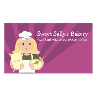 Blonde woman baking chef flour business cards