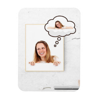 Blonde Woman on White Board Thinking About Herself Magnet