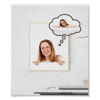 Blonde Woman on White Board Thinking About Herself Poster