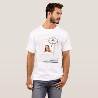Blonde Woman on White Board Thinking About Herself T-Shirt