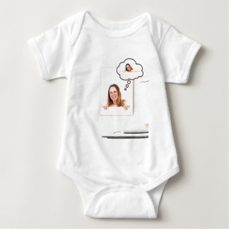Blonde Woman Thinking on White Board Baby Bodysuit