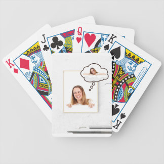 Blonde Woman Thinking on White Board Bicycle Playing Cards