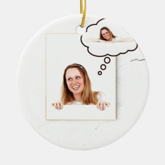 Blonde Woman Thinking on White Board Ceramic Ornament
