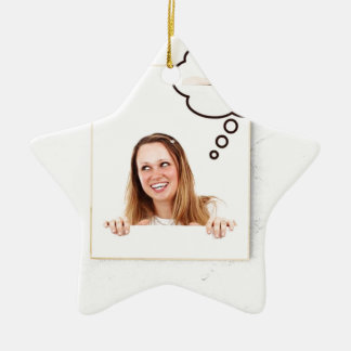 Blonde Woman Thinking on White Board Ceramic Star Ornament