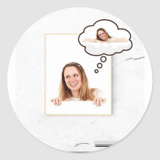 Blonde Woman Thinking on White Board Classic Round Sticker