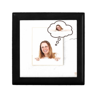 Blonde Woman Thinking on White Board Gift Box