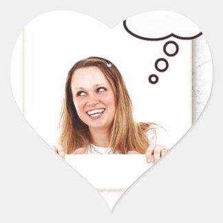 Blonde Woman Thinking on White Board Heart Sticker