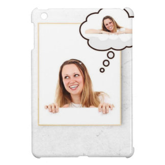 Blonde Woman Thinking on White Board iPad Mini Cover