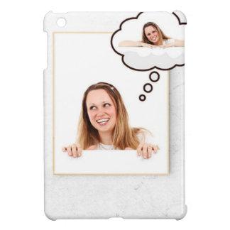 Blonde Woman Thinking on White Board iPad Mini Covers