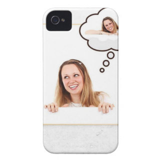 Blonde Woman Thinking on White Board iPhone 4 Cases