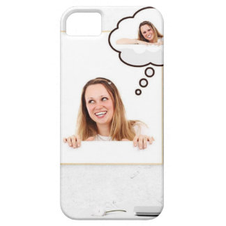 Blonde Woman Thinking on White Board iPhone 5 Cases