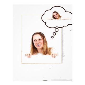 Blonde Woman Thinking on White Board Letterhead