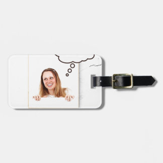 Blonde Woman Thinking on White Board Luggage Tag