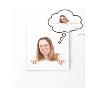 Blonde Woman Thinking on White Board Notepad