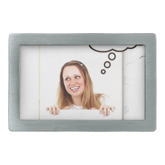 Blonde Woman Thinking on White Board Rectangular Belt Buckles
