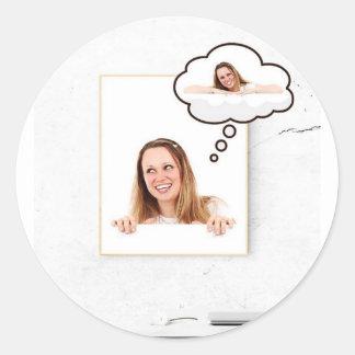 Blonde Woman Thinking on White Board Round Sticker