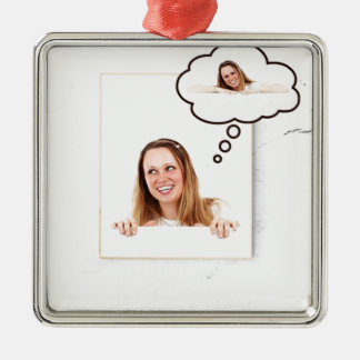 Blonde Woman Thinking on White Board Silver-Colored Square Ornament