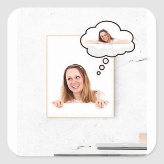 Blonde Woman Thinking on White Board Square Sticker