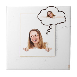 Blonde Woman Thinking on White Board Tile