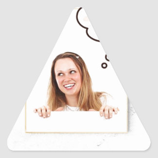 Blonde Woman Thinking on White Board Triangle Sticker