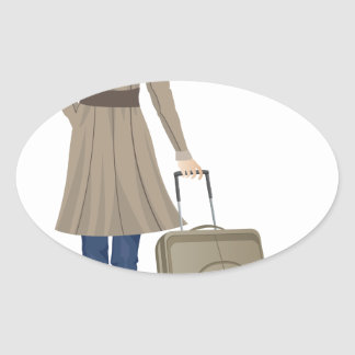 Blonde Woman with Suitcase Oval Sticker