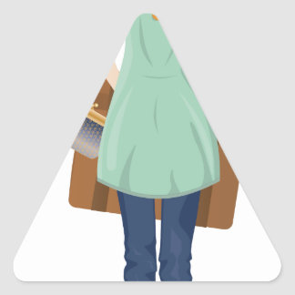 Blonde Woman with Suitcase Triangle Sticker