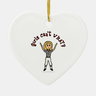 Blonde Womens Football Referee Ceramic Heart Ornament