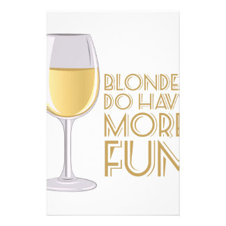 Blondes More Fun Stationery Paper