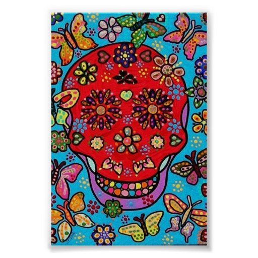 Blood and Butterflies Sugar Skull Poster