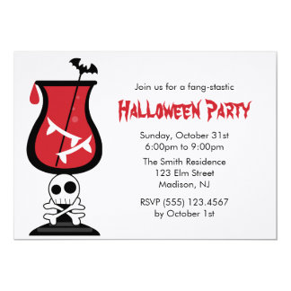 Blood and Fangs Halloween Party Card