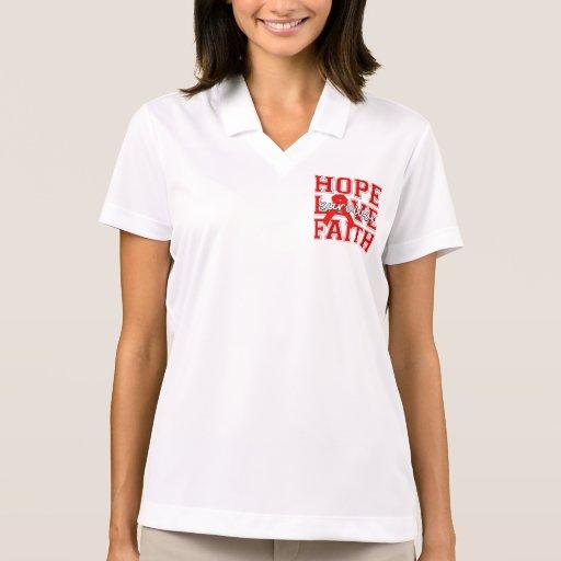 Blood Cancer Hope Love Faith Survivor Polo Shirts