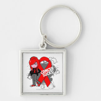 Blood Cancer Sucks Ribbon Silver-Colored Square Keychain