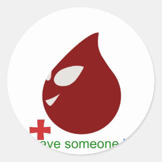 blood donation round sticker