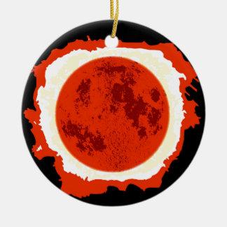 Blood Moon Eclipse Round Ceramic Ornament